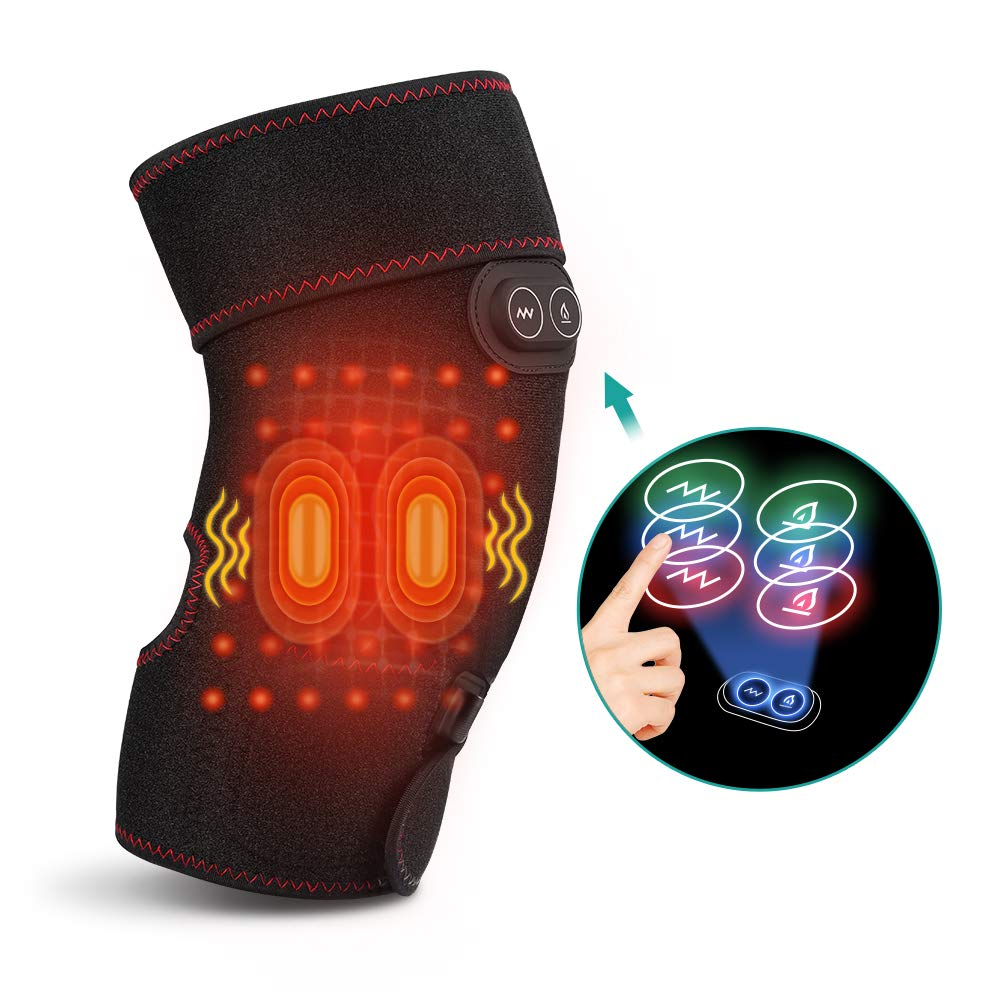 Heated and Vibration Massage Knee Brace Wrap, Heating Pad with 2 Vibration Motors for Knee Injury, Cramps Arthritis Recovery, Massager for Muscles Pain Relief Relax Fit Men and Women