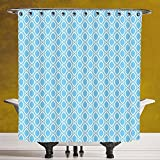 SCOCICI Fun Shower Curtain 3.0 by [Abstract,Oval Shaped Linked Egg Form Style Retro Symmetric Simplistic Artful Design Decorative,Sky Blue White ] Digital Printing Polyester Antique Theme with Adjust