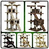 Cat Tree 72'' Condo Furniture Scratching Post Pet Kitten House Scratcher Toy Bed New Play Scratch Tower Beige Black Paw Print Brown Kitty Guarantee - It Only Comes with Our Company's Ebook