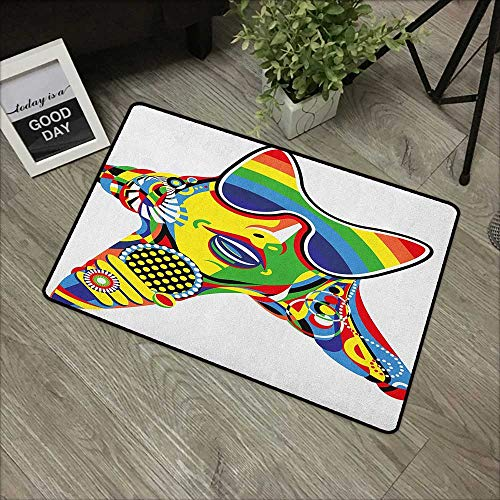 (Living Room Door mat W16 x L24 INCH Popstar Party,Abstract Design in Rainbow Colors Art in Shape of Starfish Performer Woman, Multicolor Easy to Clean, Easy to fold,Non-Slip Door Mat Carpet)