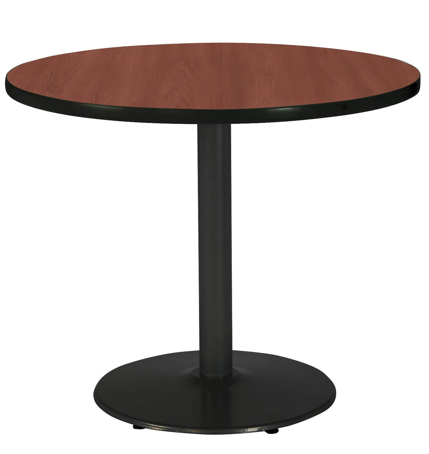 KFI Seating Round Black Base Pedestal Table with Top, Mahogany, 30''
