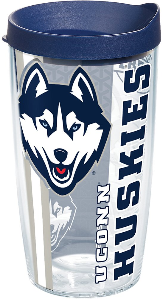 Tervis 1226948 UConn Huskies College Pride Tumbler with Wrap and Navy Lid 16oz, Clear by Tervis