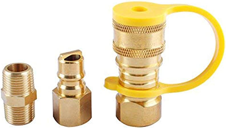 Shutoff Valve Male Full Flow Plug Quick Disconnect Fittings by Podoy Propane Quick Connect Fittings,RV 1//4 Propane Natural Gas Quick Connect Adapter Kit