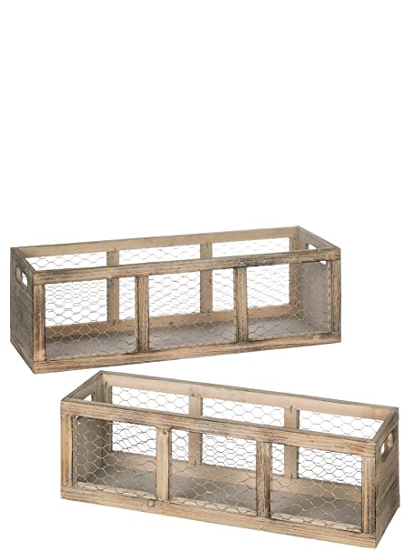 Sullivans N2096 Rectangular Wood And Chicken Wire Storage Crate Planters Or Storage  Containers, Brown,