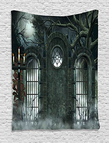 Horror House Decor Tapestry by Ambesonne, Moon Halloween Ancient Historical Gate Gothic Background Candles Fiction View, Wall Hanging for Bedroom Living Room Dorm, 60 X 80 Inches, Hunter -