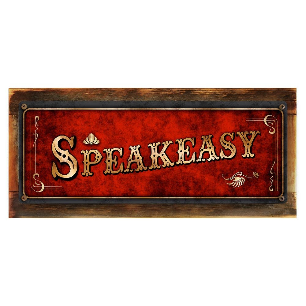 "Framed and Sun Protected Red Speakeasy Metal Sign, Framed and Sun Protected 6""x16'', Art Deco, Vintage, Retro, Game Room, Den, Wall Décor"