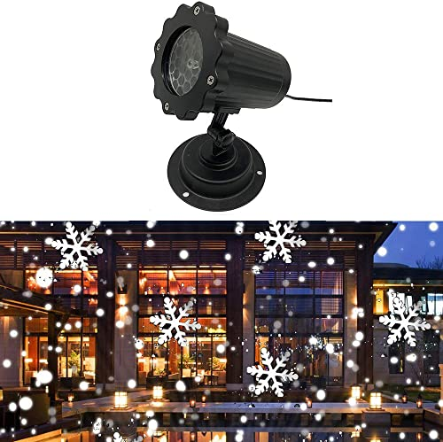 Konesky Christmas Projector Light,Snowflake Light Waterproof Projector Light IP65 Adjustable Lawn Lamp for Christmas Wedding Party Decoration Outdoor Garden