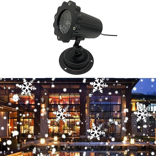 Proyector de luz LED de nevadas, lámpara de proyector de copo de ...
