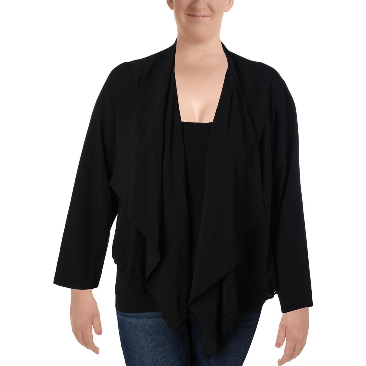 Love Scarlett Womens Open Front Long Sleeves Blazer Black S