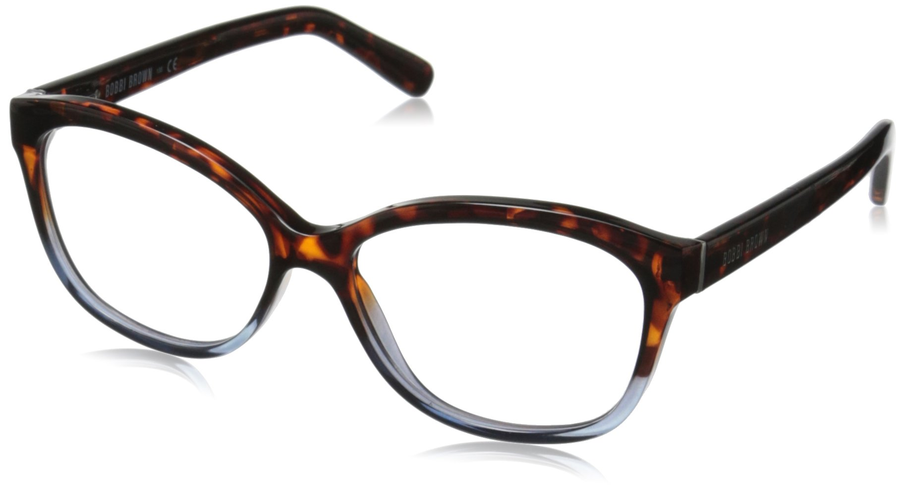 Bobbi Brown Women's The Mulberry Square Readers, Tortoise Blue Crystal 1.5, 54 mm