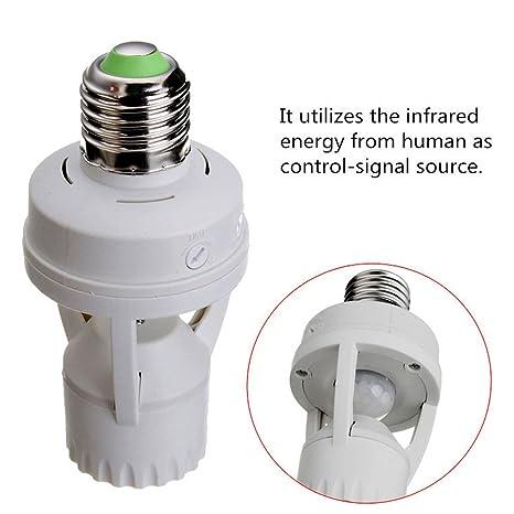 ebilun E27 tornillo luz soporte para bombilla LED lámpara de Sensor de movimiento infrarrojo Pir interruptor