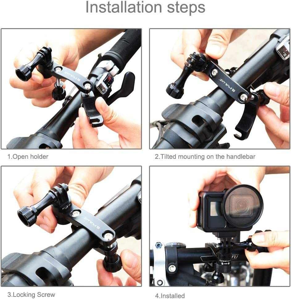 Bla DJI OSMO Action Hsifeng 360 Degree Rotation Bike Aluminum Handlebar Adapter Mount with Screw for GoPro New Hero //HERO7 //6//5 //5 Session //4 Session //4//3+ //3//2 //1 Xiaoyi and Other Action Cameras