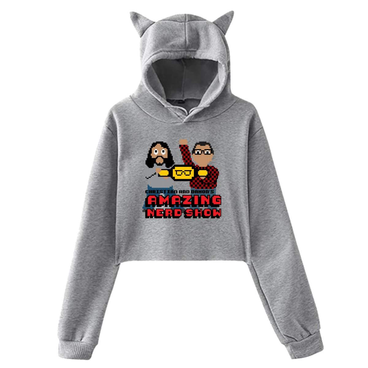 Ophelia Cornell Womens AMA-zing Nerd Show Cat Ear Hoodie Sweater Exposed Navel Hoodie Long Sleeve Cute Hoodie Outwear