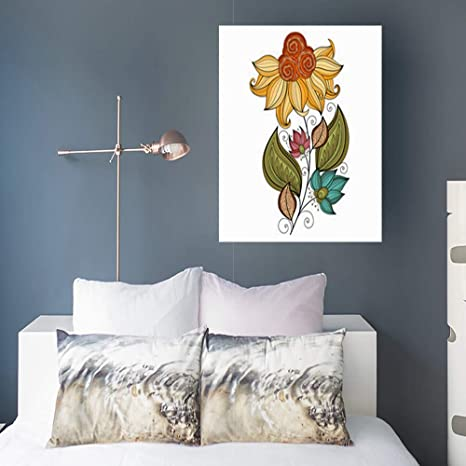 Painting Canvas Wall Art Print Beautiful Colored Contour Flower
