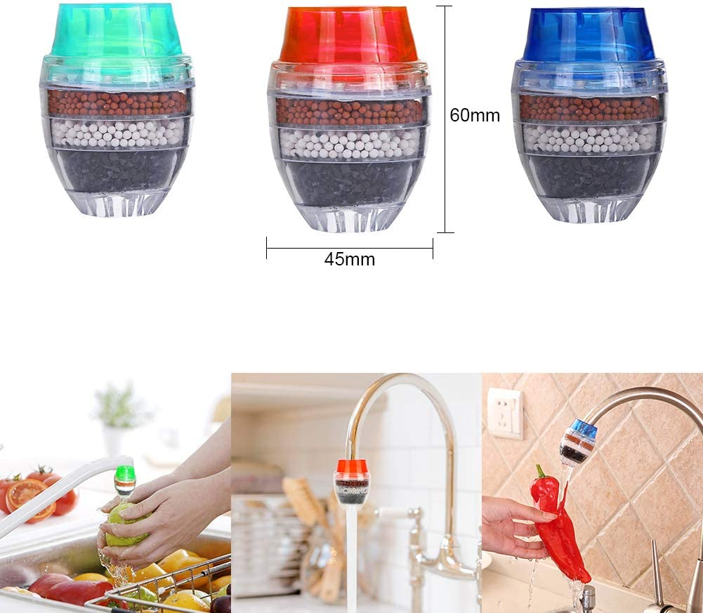 Activated Carbon Water Faucet YUESEN 6PCS Mini Water Filter Faucet Tap Clean Purifier Filter Cartridge Home Kitchen Water Tap Fast Flow Faucet Water Filter Fits