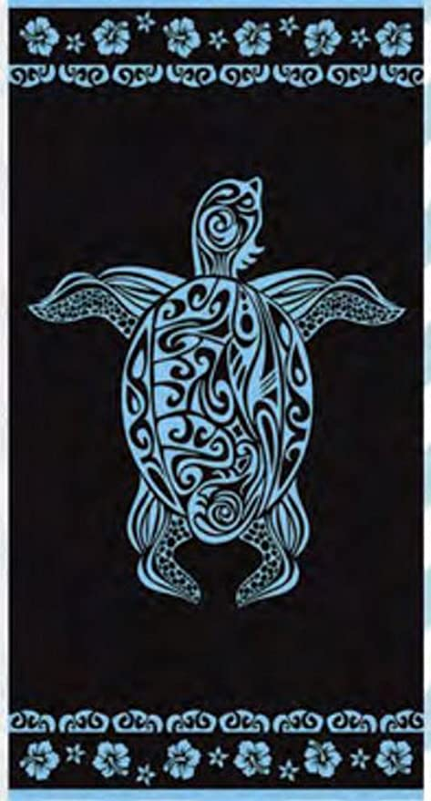 (404A) TOALLA PLAYA GRANDE (tortuga marino) 100% ALGODÓN EGIPCIO 90X170CM y