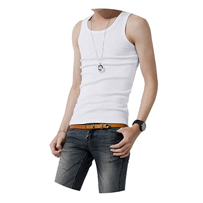 bcdd5189e15a4e Summer New Male Cotton Tank Tops Mens Solid Tops Undershirt Fitness Solid Tank  Tops Tees