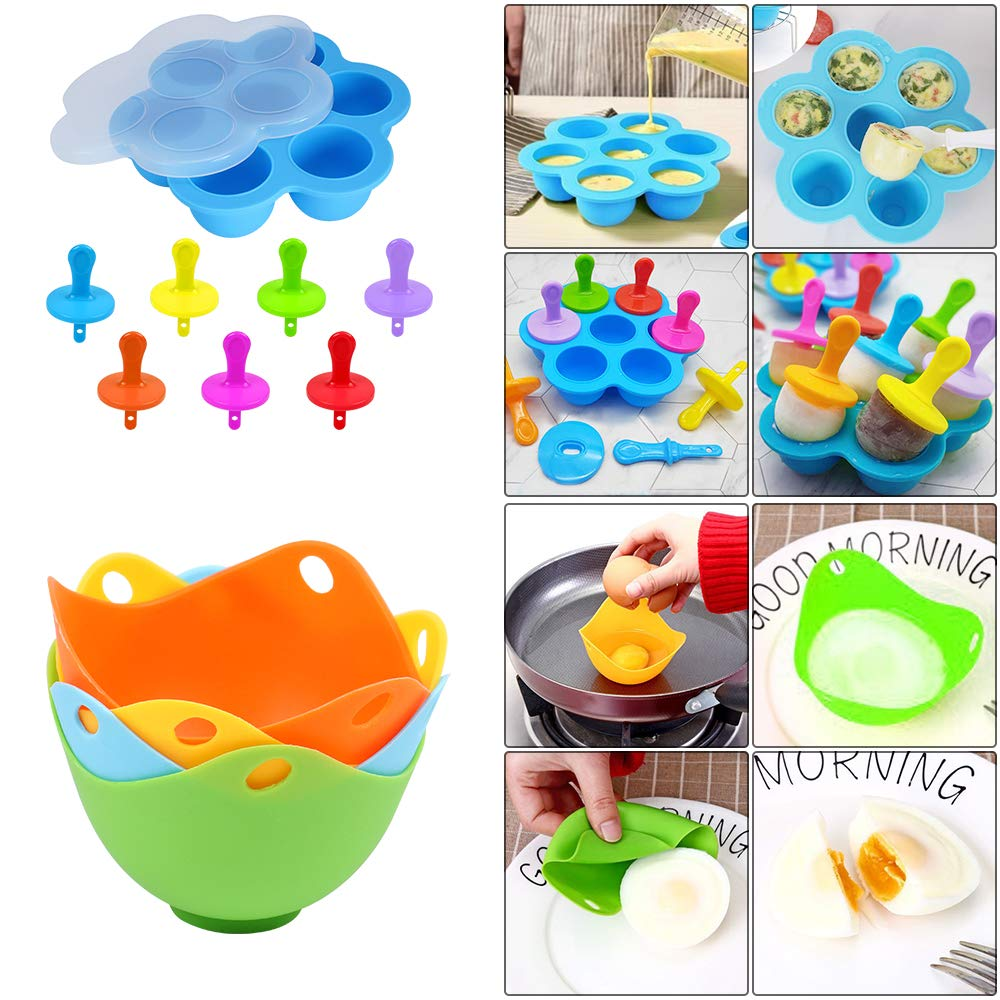Accessories for Instant Pot, 76 PCS Accessories Compatible with 5/6/8Qt Instant Pot - 2 Steamer Baskets, Steamer Rack, Non-stick Springform Pan, Egg Rack, Egg Bites Mold, Cup Cake Molds and Egg Molds by Alpacasso (Image #3)