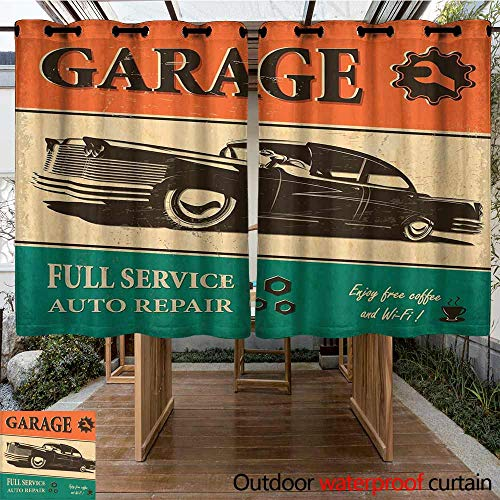 Grommet Curtain Vintage Garage Retro Poster with Classic Car Automobile Mechanic Nostalgic 50s Darkening Thermal Insulated Blackout 72