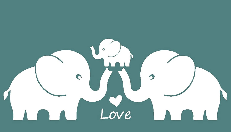 Amazon.com: Three Cute Elephants Family Wall Decal Love Hearts ...