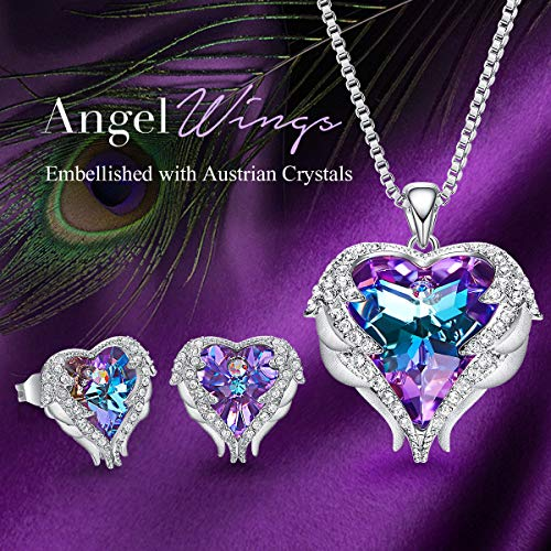 CDE Angel Wing Love Heart Necklaces and Earrings Silver Tone/Gold Tone Jewelry Set Birthday/Anniversary Gifts for Mom… 2