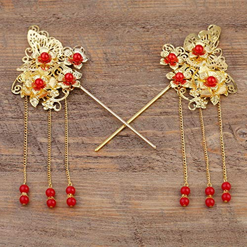 Wall of Dragon 2pcs One Pair Chinese Traditional Bride Hairpin Headdress Golden Pageant Wedding Hairwear Flower Red Hair Accessories by Wall of Dragon