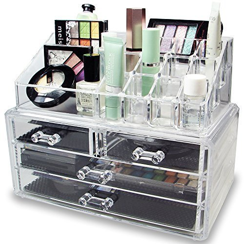 Leoneva Acrylic Clear Jewelry & Cosmetic Storage Display Boxes, 3 Tiers Makeup Boxes, Two Pieces Set