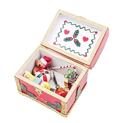 Odoria 1:12 Miniature Wooden Vintage Chest X'Mas Décor Dollhouse Decoration Accessories: Toys & Games
