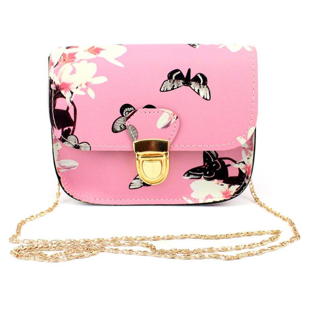 TEEGUI Chain Bag Women Butterfly Flower Printing Handbag Shoulder Bag Tote Messenger Bag
