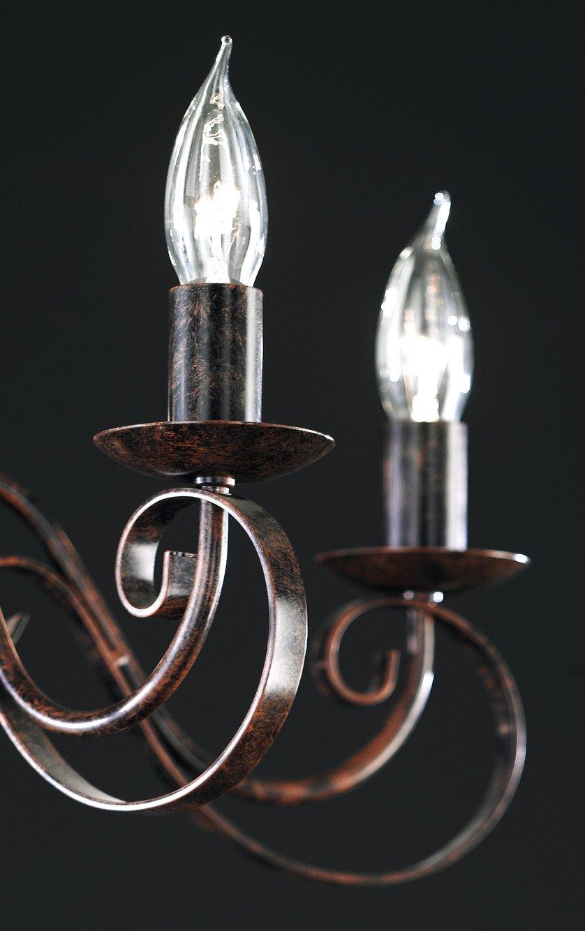 Honsel Leuchte Kronleuchterform 8 flammig rostfarbig antik,