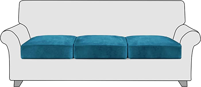 StangH Stretch Individual Couch Cushion Covers Chair Cushion Covers Sofa Seat Slipcovers with Elastice Bottom, Featuring Soft Cozy Non-sags Hight Stretch Velvet Fabric, (3 Packs, Teal)
