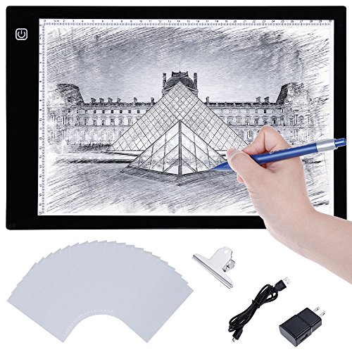 Lictin LED Light Pad Portable USB Interface A4 size , Active Area 12.20 x 8.26 Inches /31 x 21 cm, with US Power Adapter, 50 Sheets Tracing Paper and Paper Clip