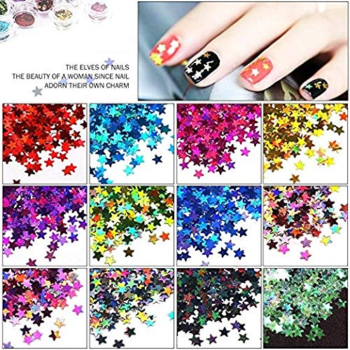 Aadya Crafts in Mixed Color Glitter Acrylic Five Star Sequins Sheet Tips Decoration Nail Art Manicure Kit 8 Colors(Each Packet 25gram)