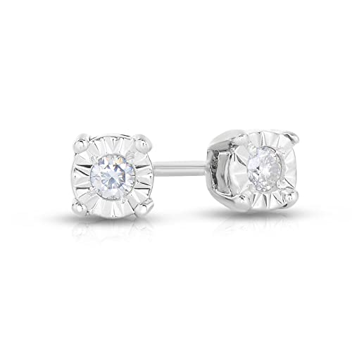 b69de02fd Amazon.com: NATALIA DRAKE Blowout Sale White Gold Plated Sterling Silver  Miraculous Diamond Stud Halo Earrings (Sterling-Silver.10): Jewelry