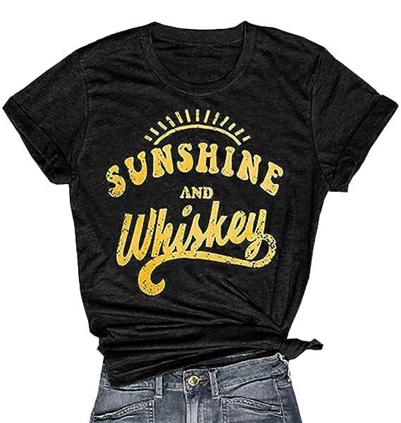 b3812de5 Amazon.com: IRISGOD Womens Country Shirts Sunshine and Whiskey Cute Graphic  Tees Summer Short Sleeve Cotton T-Shirts: Clothing