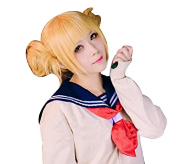 ROLECOS Himiko Toga Anime Wigs Womens 2 Ponytails Party Wigs Blonde JF271