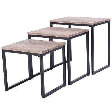 Bon Giantex 3PC Stacking Nesting Coffee End Table Set Living Room Modern Home  Furniture