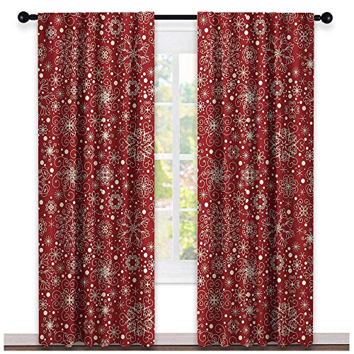 (hengshu Red, Country Curtains Valance, Filigree Style Snowflakes with Skinny Curl Details Cheerful Yuletide Inspiration in Art, Curtains Kids, W72 x L84 Inch Red Beige)