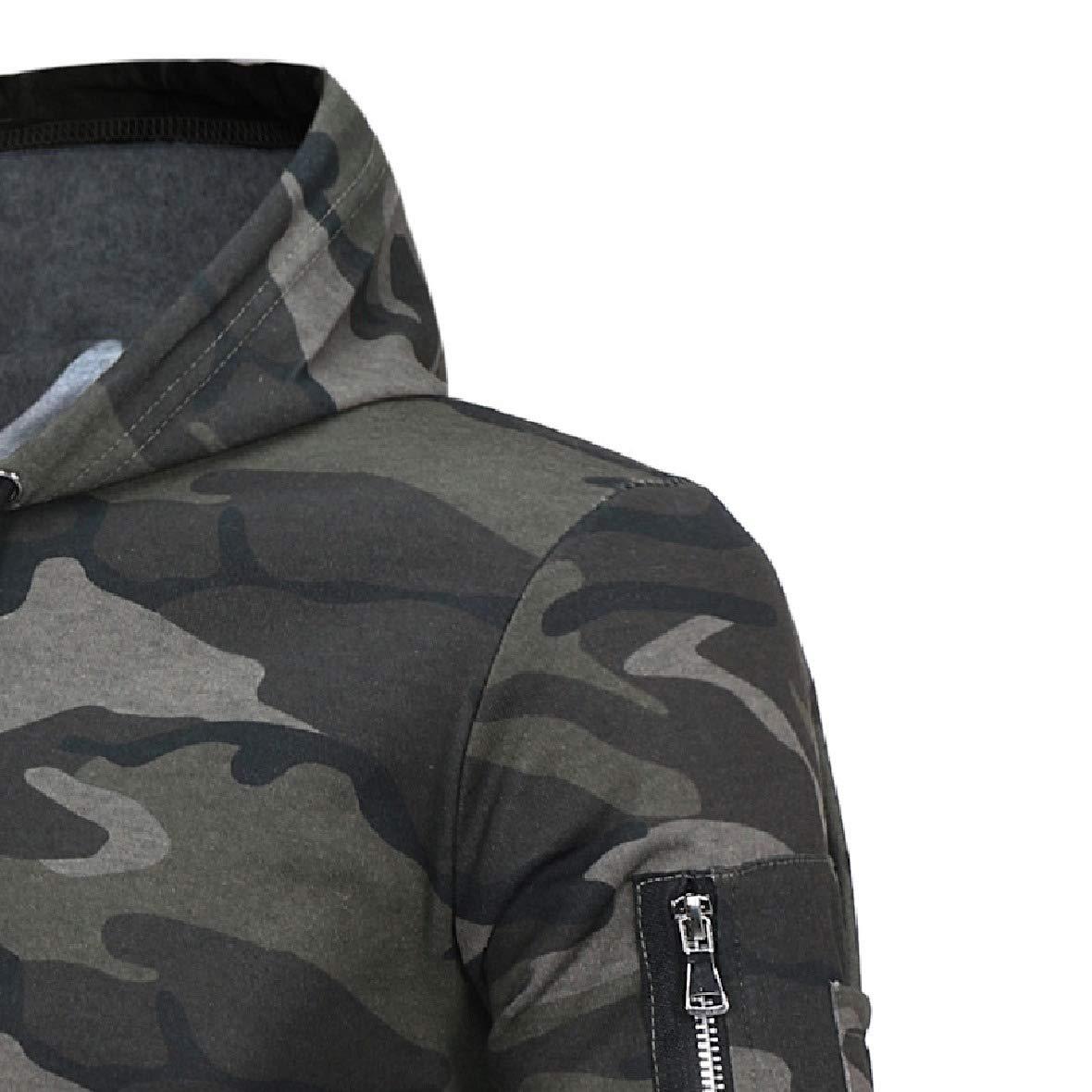 HEFASDM Mens Hoode Casual Loose Pullover Camouflage Color Sweatshirt