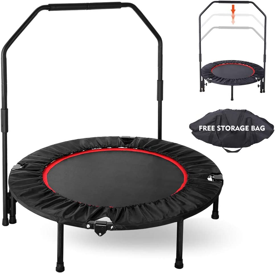 GARTIO 40 Exercise Trampoline, Portable Foldable Mini Rebounder with Adjustable Handrail and Safety Pad, Indoor Outdoor Fun Fitness Training Workouts for Kids Adults, Max Load 330lbs