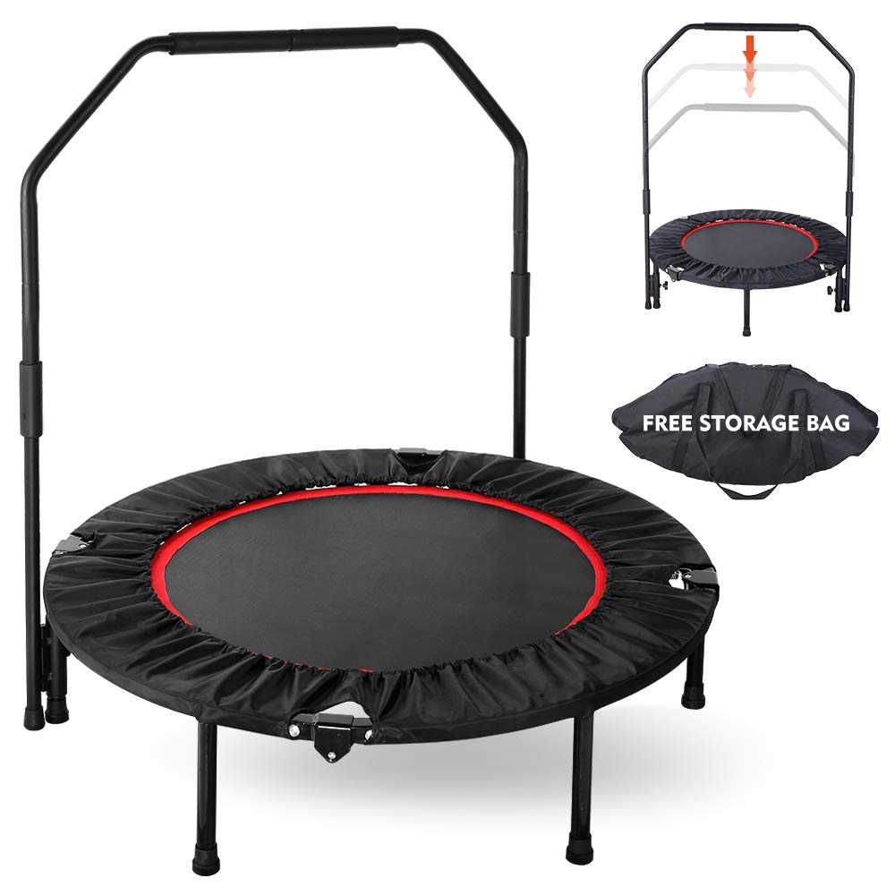 GARTIO 40'' Exercise Trampoline, Portable & Foldable Mini Rebounder with Adjustable Handrail and Safety Pad, Indoor Outdoor Fun Fitness Training Workouts for Kids Adults, Max Load 330lbs by GARTIO