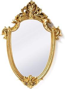 Funerom Vintage 11.6¡Á9 inch Decorative Wall Mirror Gold Shield Shape
