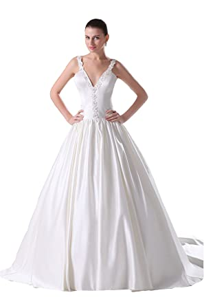 Angel Formal Dresses Appliques V-neck Wedding Dress at Amazon ...