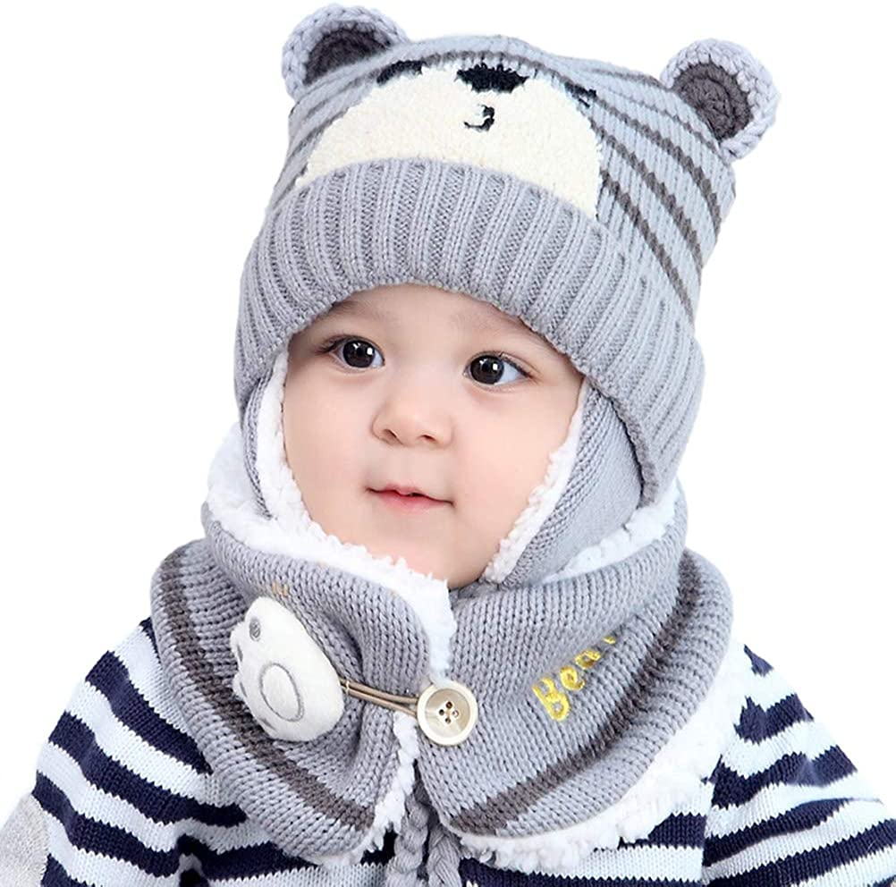 Leikance Baby Cap,Kids Winter Warm Hat Baby Earflap Beanie Hat with Scarf Cut Baby Infant Knit Hat