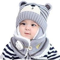 Edinber Gorro de invierno para bebé y niños y niñas con bufanda, suave para invierno, cálido gorro para bebé, con…