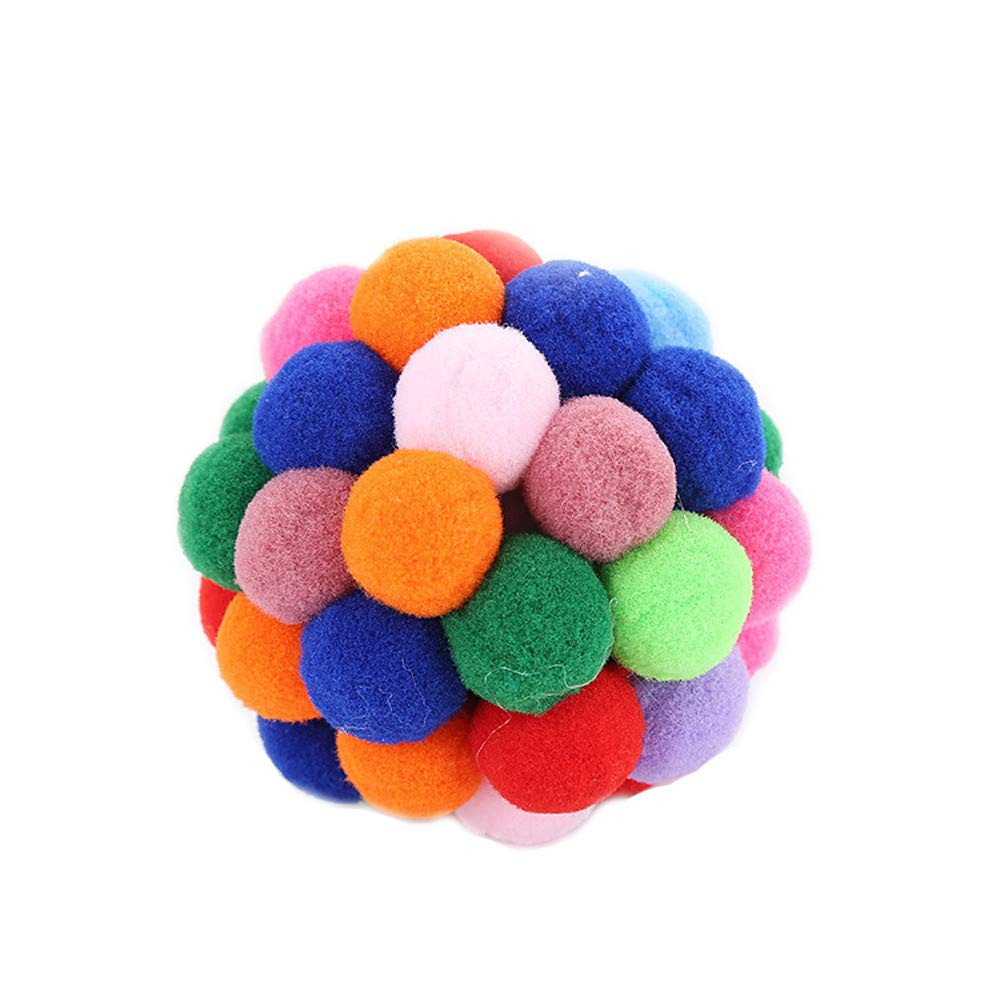 Botrong Pet Cat Toy Colorful Handmade Bells Bouncy Ball Built-in Catnip Interactive Toy (7cm)