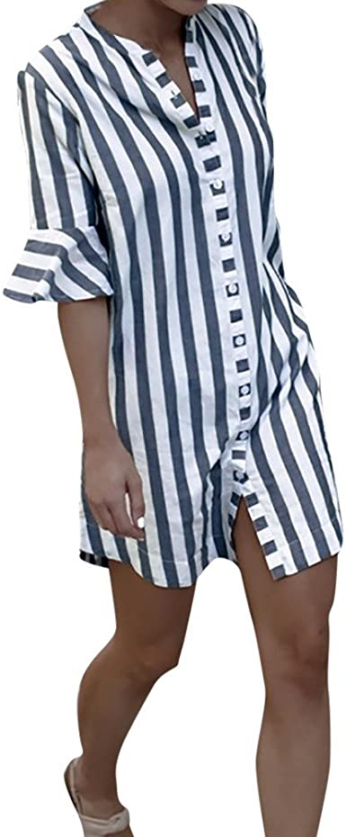 Las Señoras del Vestido De La Camisa Rayada De Tamaños ...