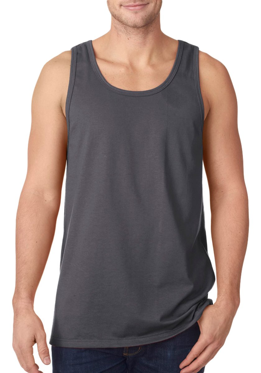 Fruit Of The Loom Men's Two Needle Hemmed Bottom Tank, XXX Large, Charcoal Grey