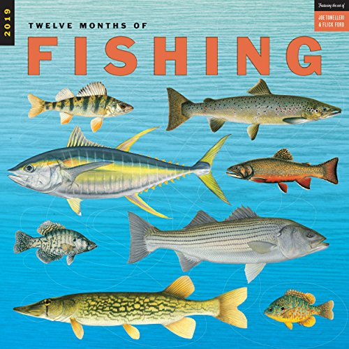 Twelve Months of Fishing Wall Calendar 2019 Monthly January-December 12
