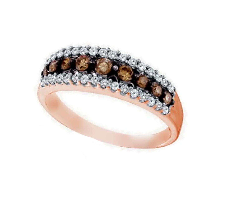 14K Rose Gold Brandy Diamond Chocolate Brown Stunning Eternity Ring 1/2 Ctw.